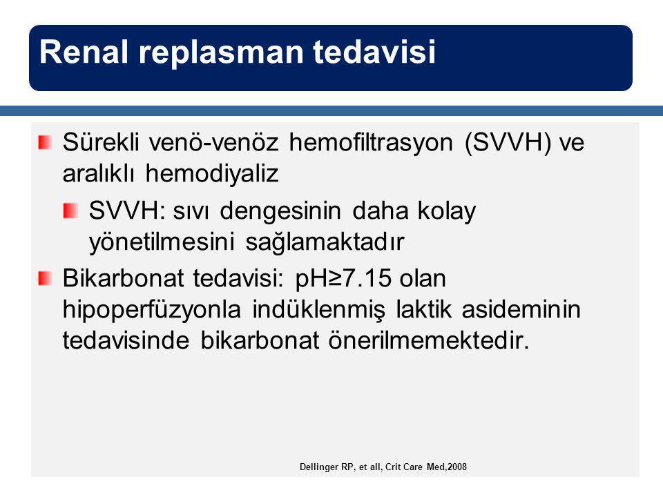 Sürekli venö-venöz hemofiltrasyon (SVVH) ve aralıklı hemodiyaliz SVVH: sıvı dengesinin daha kolay yönetilmesini sağlamaktadır Bikarbonat tedavisi: pH≥7.15 olan hipoperfüzyonla indüklenmiş laktik asideminin tedavisinde bikarbonat önerilmemektedir.