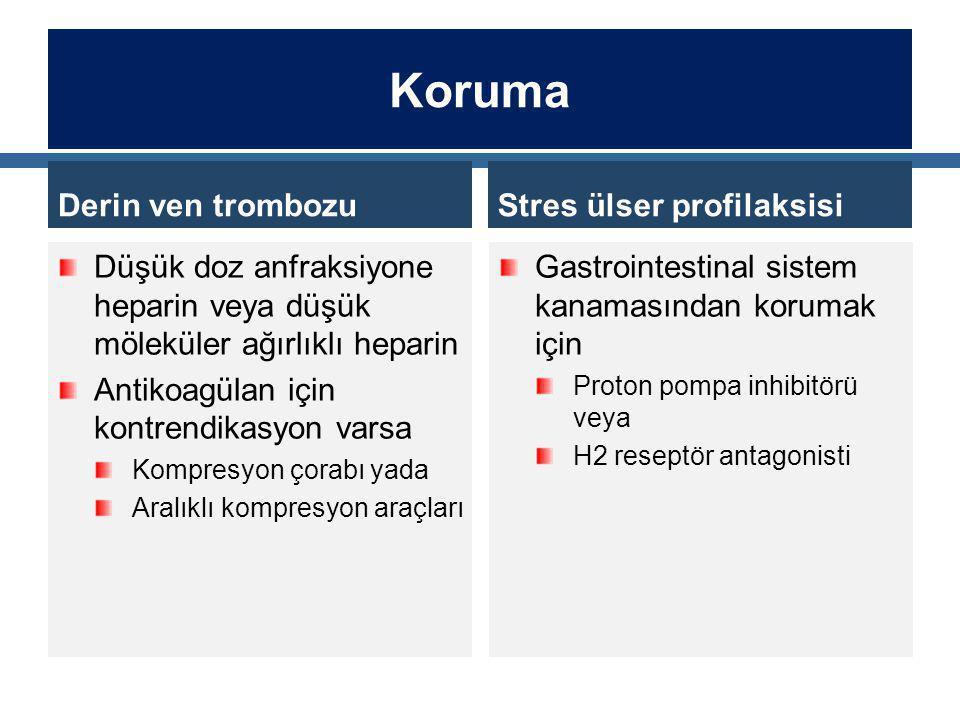 Koruma Derin ven trombozu Düşük doz anfraksiyone heparin veya düşük möleküler ağırlıklı heparin Antikoagülan için kontrendikasyon varsa Kompresyon çorabı yada Aralıklı kompresyon araçları Stres ülser profilaksisi Gastrointestinal sistem kanamasından korumak için Proton pompa inhibitörü veya H2 reseptör antagonisti