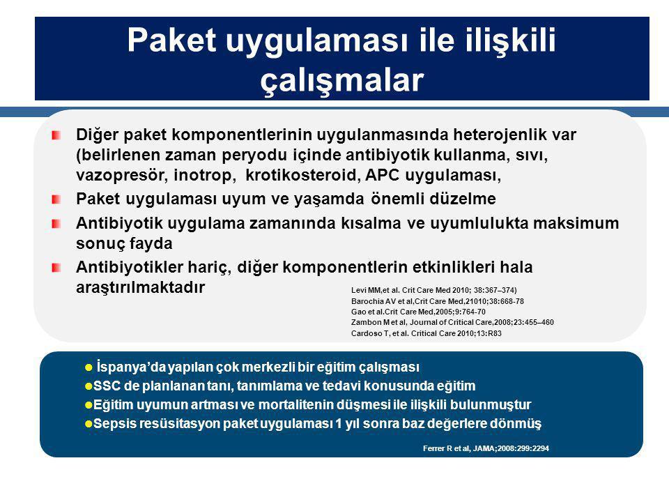 Paket uygulaması ile ilişkili çalışmalar Diğer paket komponentlerinin uygulanmasında heterojenlik var (belirlenen zaman peryodu içinde antibiyotik kul