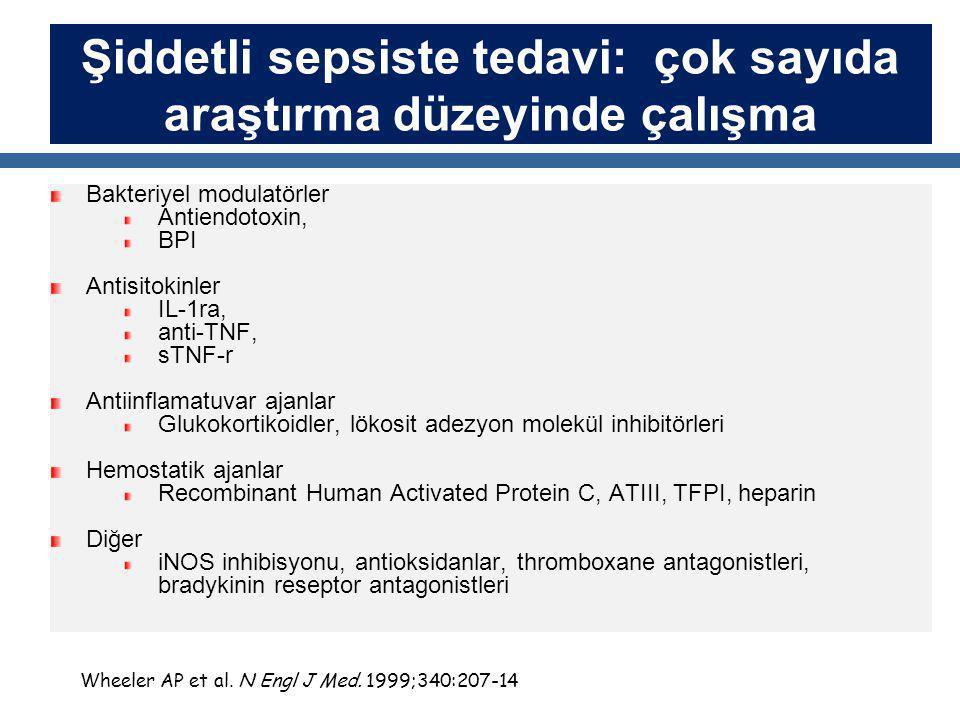 Şiddetli sepsiste tedavi: çok sayıda araştırma düzeyinde çalışma Bakteriyel modulatörler Antiendotoxin, BPI Antisitokinler IL-1ra, anti-TNF, sTNF-r Antiinflamatuvar ajanlar Glukokortikoidler, lökosit adezyon molekül inhibitörleri Hemostatik ajanlar Recombinant Human Activated Protein C, ATIII, TFPI, heparin Diğer iNOS inhibisyonu, antioksidanlar, thromboxane antagonistleri, bradykinin reseptor antagonistleri Wheeler AP et al.