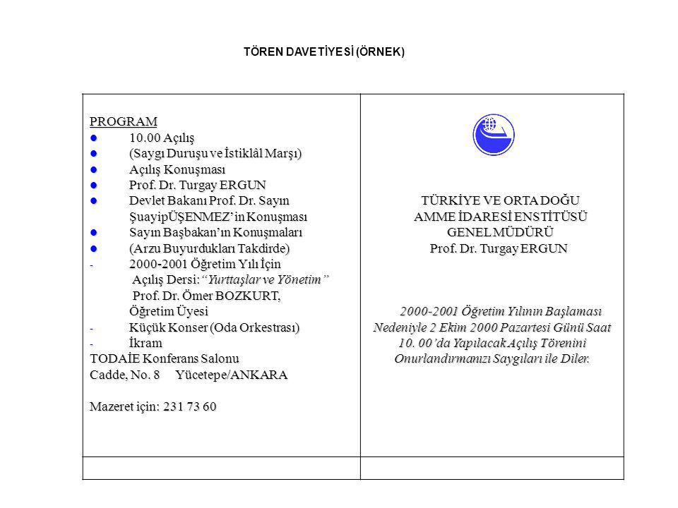 TÖREN DAVETİYESİ (ÖRNEK) PROGRAM 10.00 Açılış 10.00 Açılış (Saygı Duruşu ve İstiklâl Marşı) (Saygı Duruşu ve İstiklâl Marşı) Açılış Konuşması Açılış K