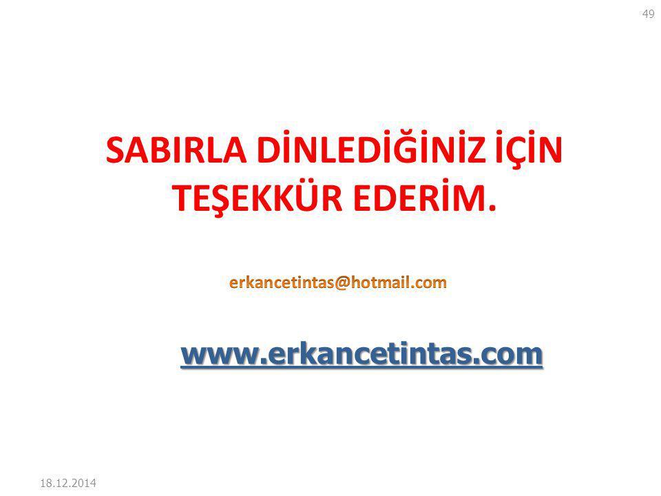 18.12.2014 49 SABIRLA DİNLEDİĞİNİZ İÇİN TEŞEKKÜR EDERİM. www.erkancetintas.com