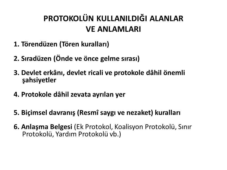 PROTOKOLÜN KULLANILDIĞI ALANLAR VE ANLAMLARI 1. Törendüzen (Tören kuralları) 2. Sıradüzen (Önde ve önce gelme sırası) 3. Devlet erkânı, devlet ricali