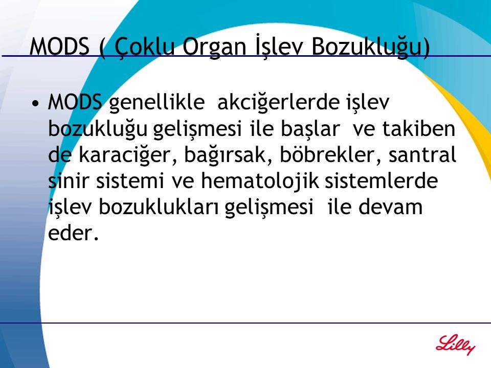 MODS ( Çoklu Organ İşlev Bozukluğu) MODS genellikle akciğerlerde işlev bozukluğu gelişmesi ile başlar ve takiben de karaciğer, bağırsak, böbrekler, sa
