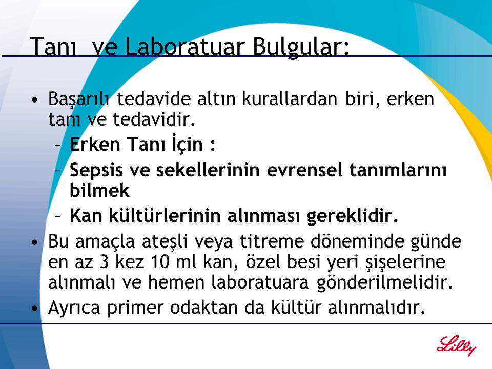 Tanı ve Laboratuar Bulgular: Kan Kültür pozitifliği Lökopeni veya lökositoz Trombositopeni, PT, aPTT zamanında uzama Fibrinojen azalması, fibrin yıkım ürünlerinde artma Kan gazlarında: aisidoz tablosu gelişir ( pH'da düşme, HCO3'de düşme, laktat düzeyinde artış).
