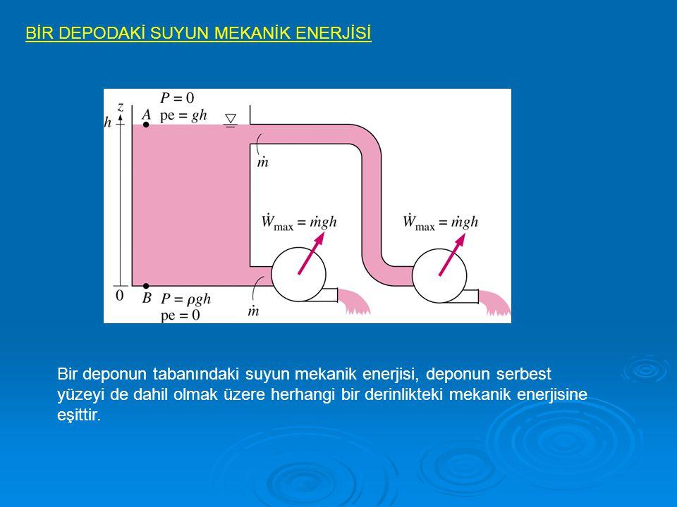 BİR DEPODAKİ SUYUN MEKANİK ENERJİSİ Bir deponun tabanındaki suyun mekanik enerjisi, deponun serbest yüzeyi de dahil olmak üzere herhangi bir derinlikt