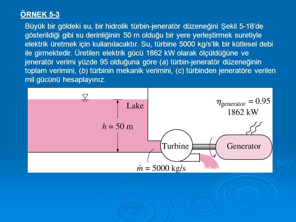 ÖRNEK 5-3 Büyük bir göldeki su, bir hidrolik türbin-jeneratör düzeneğini Şekil 5-18'de gösterildiği gibi su derinliğinin 50 m olduğu bir yere yerleşti