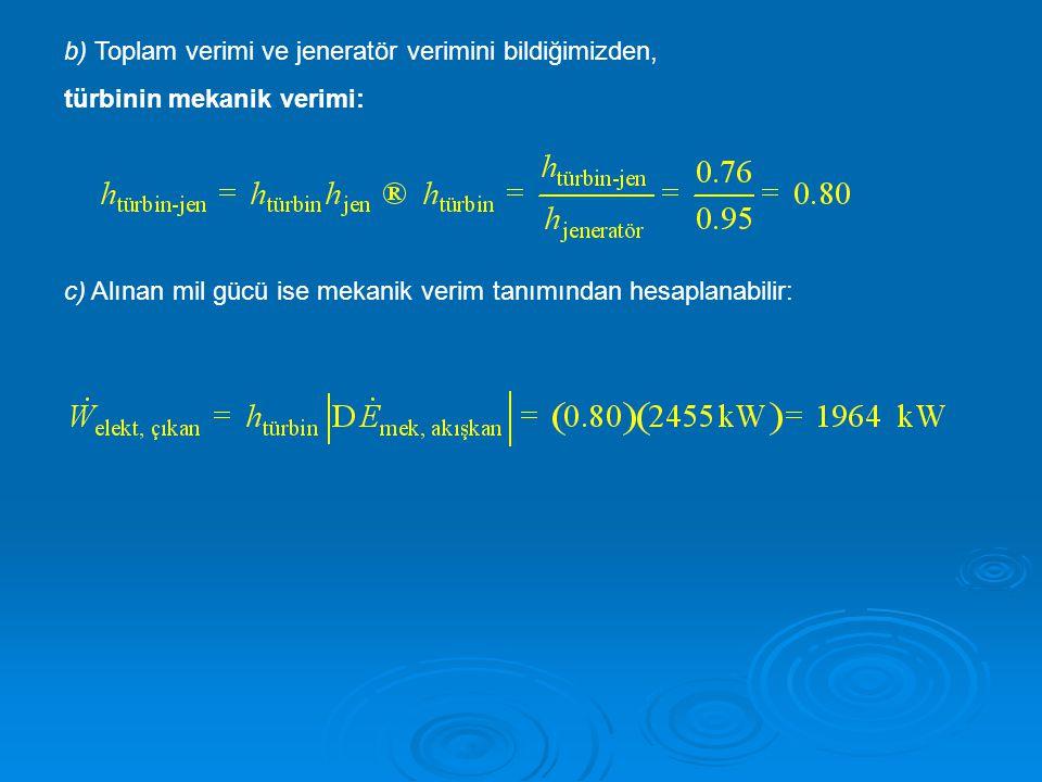b) Toplam verimi ve jeneratör verimini bildiğimizden, türbinin mekanik verimi: c) Alınan mil gücü ise mekanik verim tanımından hesaplanabilir: