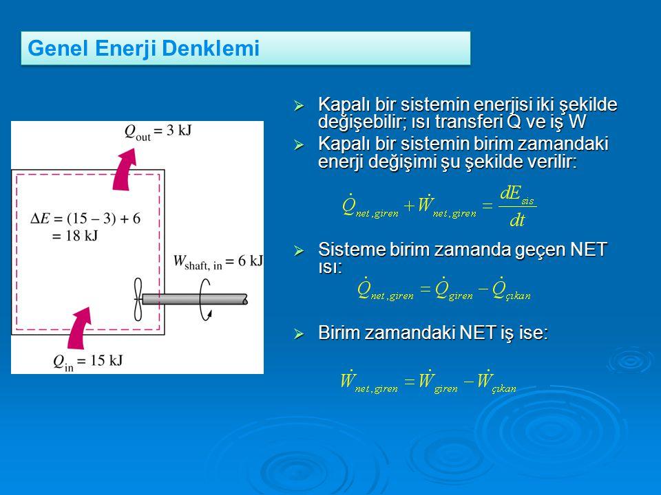  Kapalı bir sistemin enerjisi iki şekilde değişebilir; ısı transferi Q ve iş W  Kapalı bir sistemin birim zamandaki enerji değişimi şu şekilde veril