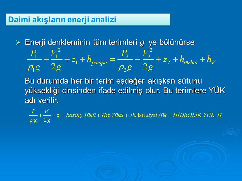  Enerji denkleminin tüm terimleri g ye bölünürse Bu durumda her bir terim eşdeğer akışkan sütunu yüksekliği cinsinden ifade edilmiş olur. Bu terimler