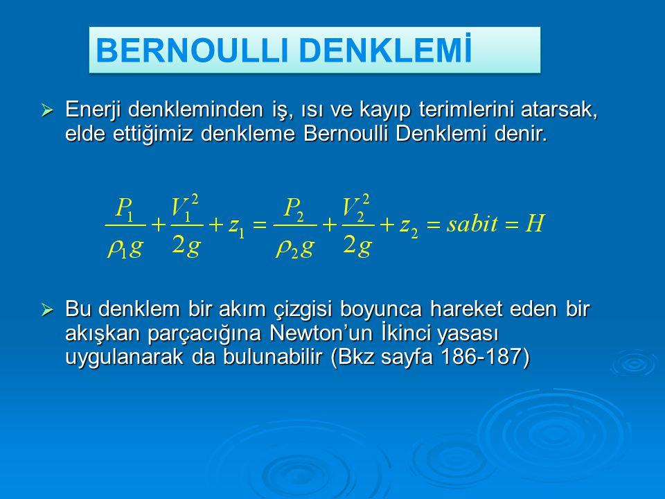  Enerji denkleminden iş, ısı ve kayıp terimlerini atarsak, elde ettiğimiz denkleme Bernoulli Denklemi denir.  Bu denklem bir akım çizgisi boyunca ha