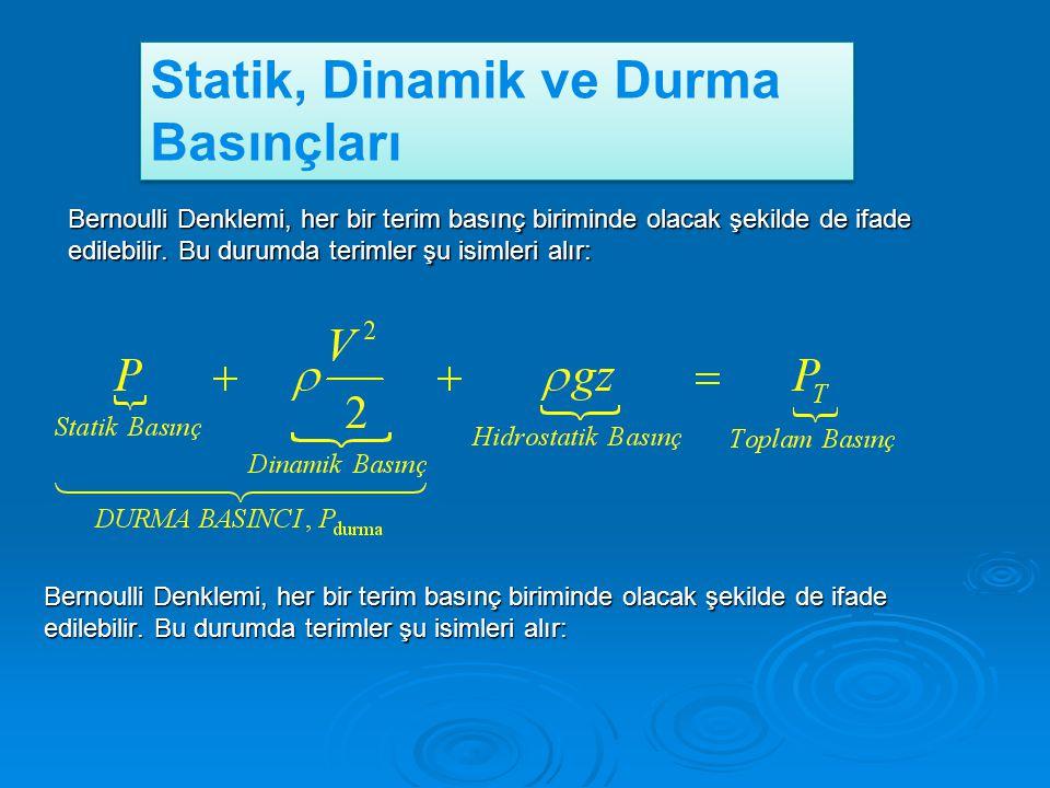 Statik, Dinamik ve Durma Basınçları Bernoulli Denklemi, her bir terim basınç biriminde olacak şekilde de ifade edilebilir. Bu durumda terimler şu isim