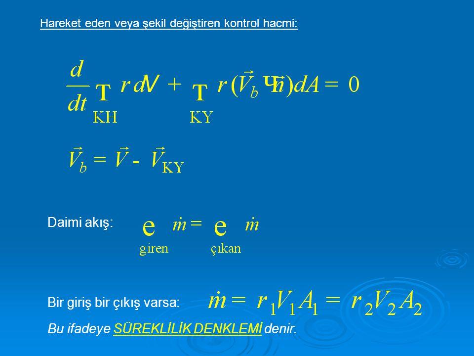  Böylece enerji denklemi şu şekilde elde edilir:  Denklemde görülen P/  akış işi olup birim kütle başına akışkanı KH içerisine sürmek için yapılan işi temsil eder.