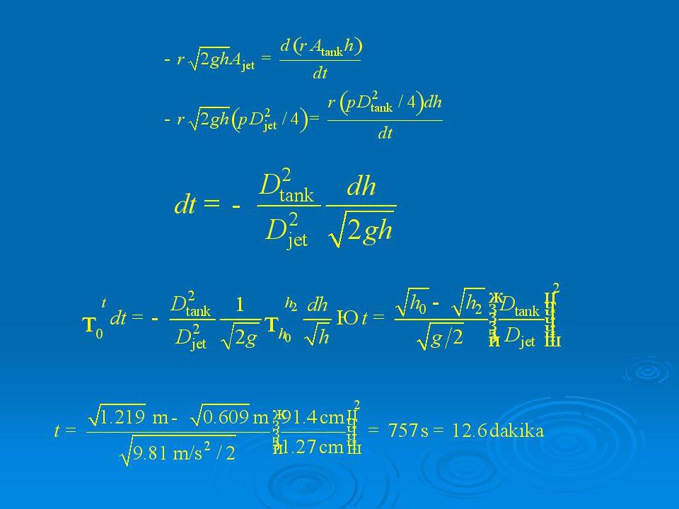 İrdemele: h2 = 0 alınarak tankın tankın tamamının boşalması için gerekli süre hesaplanabilir.