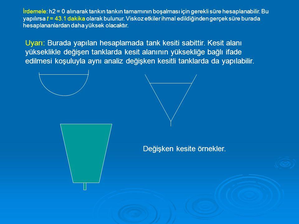 İrdemele: h2 = 0 alınarak tankın tankın tamamının boşalması için gerekli süre hesaplanabilir. Bu yapılırsa t = 43.1 dakika olarak bulunur. Viskoz etki