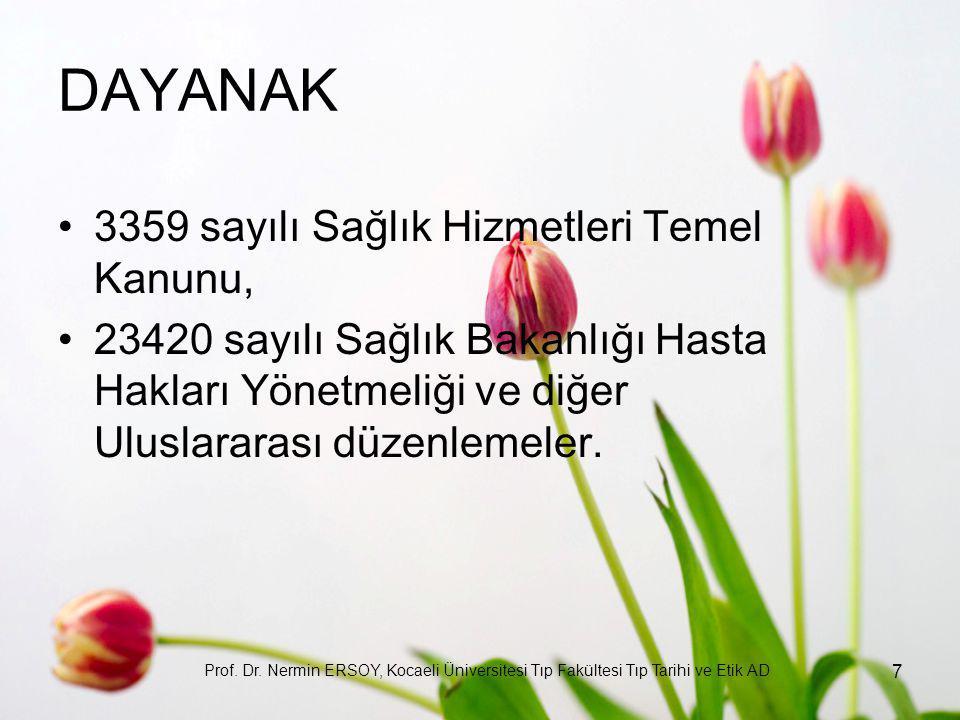 DAYANAK 3359 sayılı Sağlık Hizmetleri Temel Kanunu, 23420 sayılı Sağlık Bakanlığı Hasta Hakları Yönetmeliği ve diğer Uluslararası düzenlemeler. Prof.