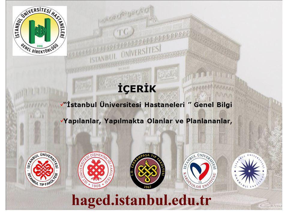 İÇERİK İstanbul Üniversitesi Hastaneleri Genel Bilgi Yapılanlar, Yapılmakta Olanlar ve Planlananlar,