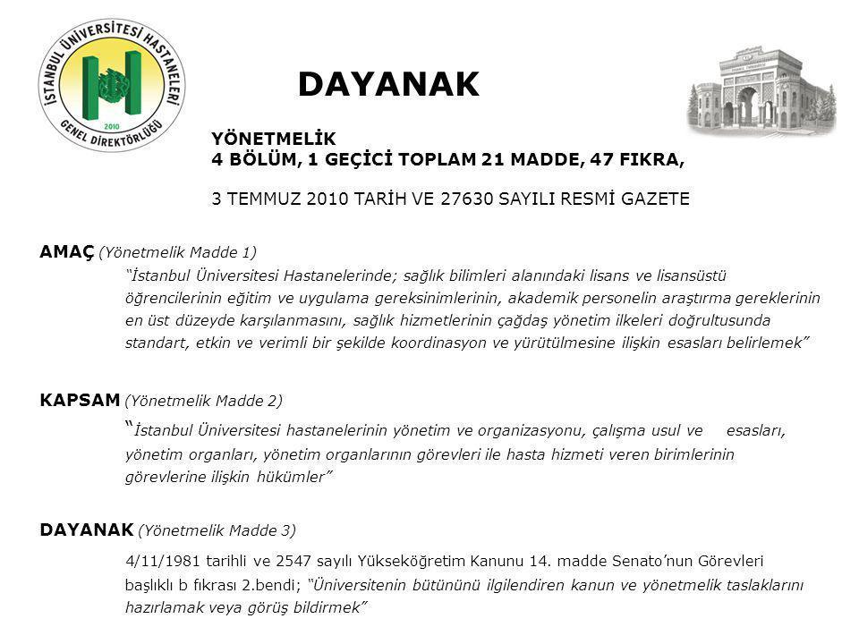 Geçmiş Şuan Gelecek DAYANAK YÖNETMELİK 4 BÖLÜM, 1 GEÇİCİ TOPLAM 21 MADDE, 47 FIKRA, 3 TEMMUZ 2010 TARİH VE 27630 SAYILI RESMİ GAZETE AMAÇ (Yönetmelik Madde 1) İstanbul Üniversitesi Hastanelerinde; sağlık bilimleri alanındaki lisans ve lisansüstü öğrencilerinin eğitim ve uygulama gereksinimlerinin, akademik personelin araştırma gereklerinin en üst düzeyde karşılanmasını, sağlık hizmetlerinin çağdaş yönetim ilkeleri doğrultusunda standart, etkin ve verimli bir şekilde koordinasyon ve yürütülmesine ilişkin esasları belirlemek KAPSAM (Yönetmelik Madde 2) İstanbul Üniversitesi hastanelerinin yönetim ve organizasyonu, çalışma usul ve esasları, yönetim organları, yönetim organlarının görevleri ile hasta hizmeti veren birimlerinin görevlerine ilişkin hükümler DAYANAK (Yönetmelik Madde 3) 4/11/1981 tarihli ve 2547 sayılı Yükseköğretim Kanunu 14.