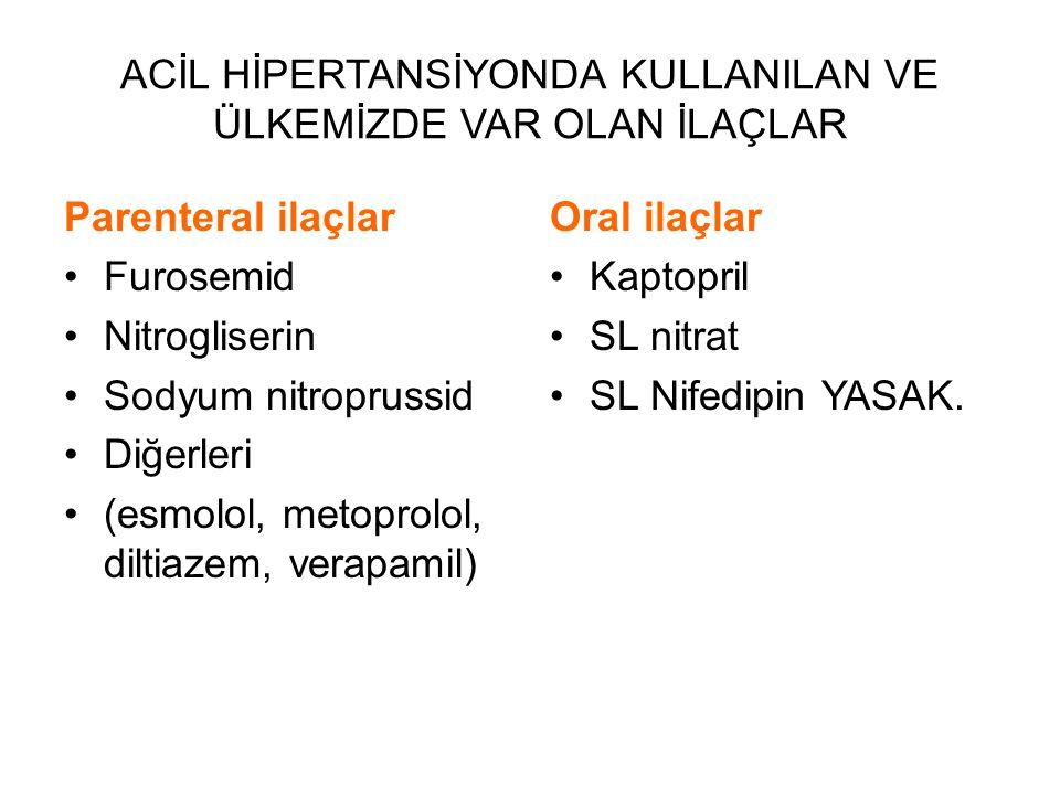 ACİL HİPERTANSİYONDA KULLANILAN VE ÜLKEMİZDE VAR OLAN İLAÇLAR Parenteral ilaçlar Furosemid Nitrogliserin Sodyum nitroprussid Diğerleri (esmolol, metop