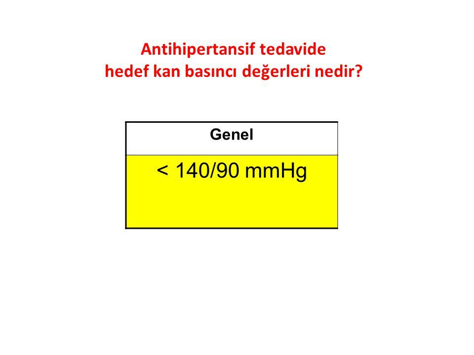 Antihipertansif tedavide hedef kan basıncı değerleri nedir? Genel < 140/90 mmHg