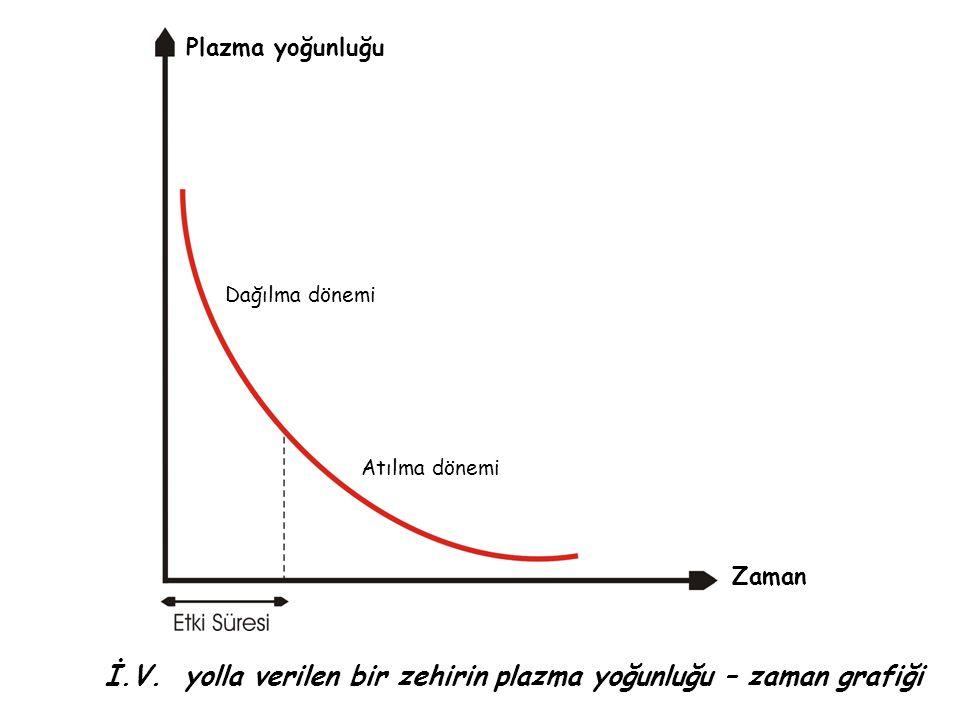 İ.V. yolla verilen bir zehirin plazma yoğunluğu – zaman grafiği Plazma yoğunluğu Zaman Dağılma dönemi Atılma dönemi