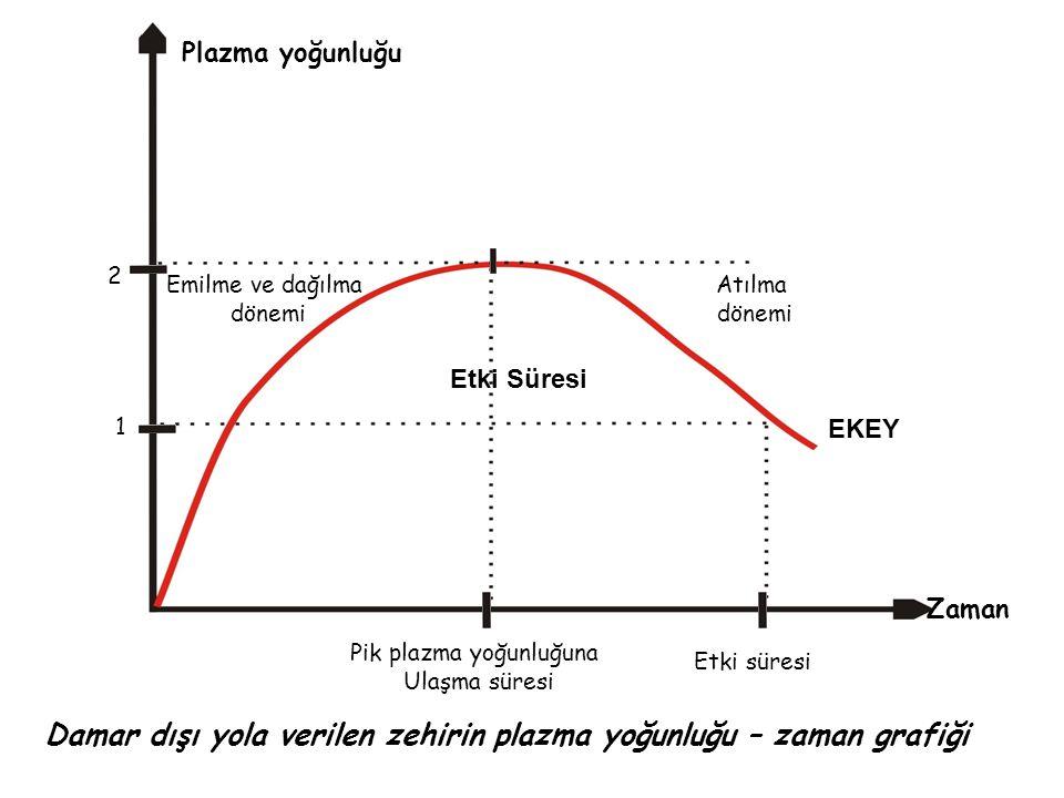 Damar dışı yolla verilen bir zehirin plazma- yoğunluğu zaman grafiğinden şu sonuçlar çıkarılır: → Eğrinin çıkan kısmında emilme hızı, atılma hızından büyük (ka>ke), doruk yoğunlukta bu iki değer birbirine eşit ve inen kısmında atılma hızı emilme hızından büyüktür.