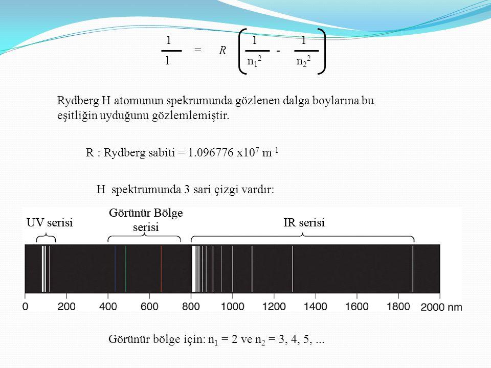 =R- 1 l 1 n22n22 1 n12n12 R : Rydberg sabiti = 1.096776 x10 7 m -1 H spektrumunda 3 sari çizgi vardır: Görünür bölge için: n 1 = 2 ve n 2 = 3, 4, 5,...