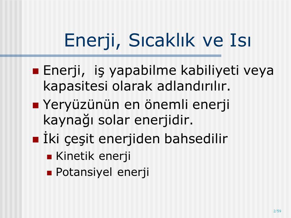 2/59 Enerji, Sıcaklık ve Isı Enerji, iş yapabilme kabiliyeti veya kapasitesi olarak adlandırılır. Yeryüzünün en önemli enerji kaynağı solar enerjidir.