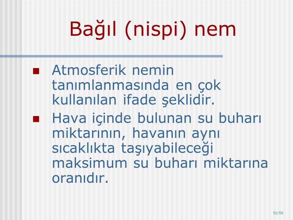 50/59 Bağıl (nispi) nem Atmosferik nemin tanımlanmasında en çok kullanılan ifade şeklidir. Hava içinde bulunan su buharı miktarının, havanın aynı sıca