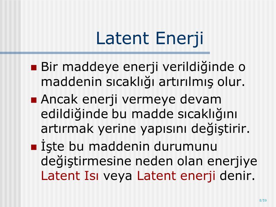 8/59 Latent Enerji Bir maddeye enerji verildiğinde o maddenin sıcaklığı artırılmış olur. Ancak enerji vermeye devam edildiğinde bu madde sıcaklığını a