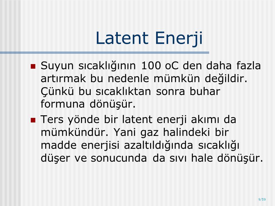 9/59 Latent Enerji Suyun sıcaklığının 100 oC den daha fazla artırmak bu nedenle mümkün değildir. Çünkü bu sıcaklıktan sonra buhar formuna dönüşür. Ter