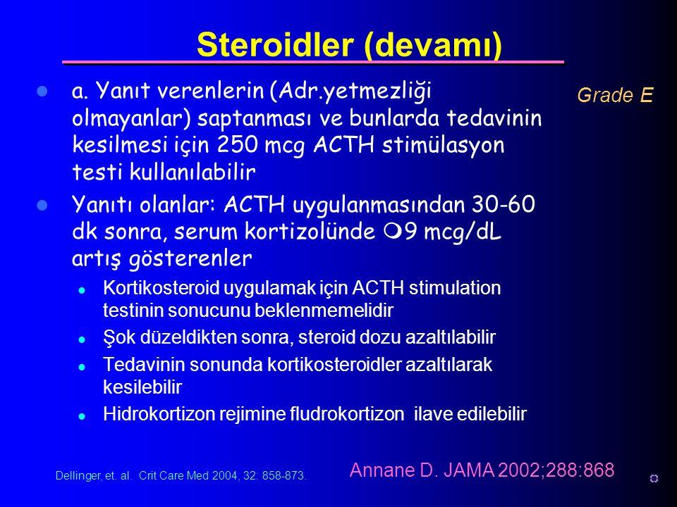 a. Yanıt verenlerin (Adr.yetmezliği olmayanlar) saptanması ve bunlarda tedavinin kesilmesi için 250 mcg ACTH stimülasyon testi kullanılabilir Yanıtı o