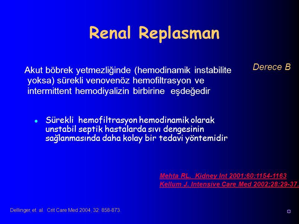 Sürekli hemofiltrasyon hemodinamik olarak unstabil septik hastalarda sıvı dengesinin sağlanmasında daha kolay bir tedavi yöntemidir Renal Replasman Me