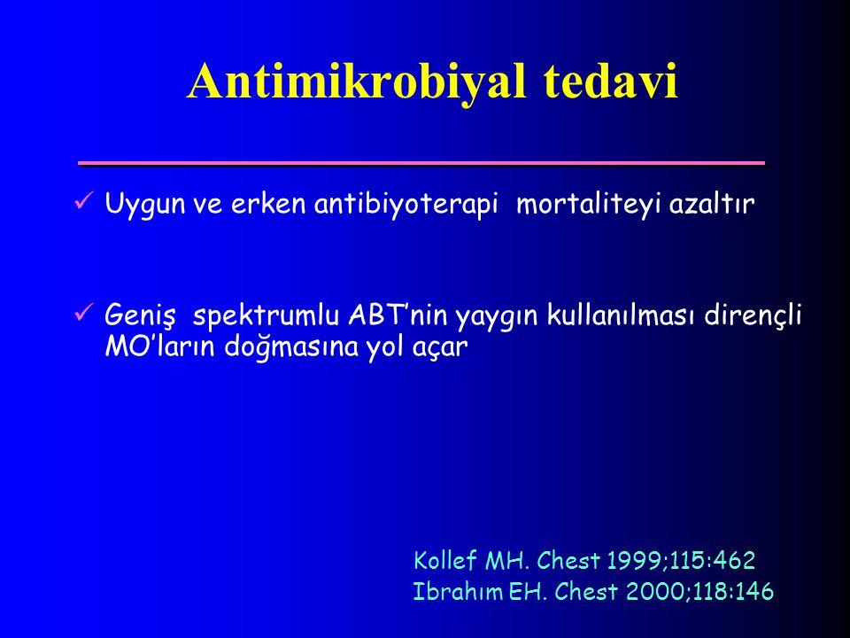 Antimikrobiyal tedavi Uygun ve erken antibiyoterapi mortaliteyi azaltır Geniş spektrumlu ABT'nin yaygın kullanılması dirençli MO'ların doğmasına yol a