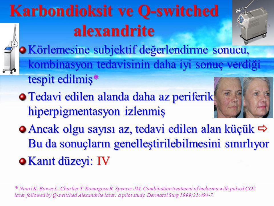 Körlemesine subjektif değerlendirme sonucu, kombinasyon tedavisinin daha iyi sonuç verdiği tespit edilmiş* Tedavi edilen alanda daha az periferik hiperpigmentasyon izlenmiş Ancak olgu sayısı az, tedavi edilen alan küçük  Bu da sonuçların genelleştirilebilmesini sınırlıyor Kanıt düzeyi: IV Karbondioksit ve Q-switched alexandrite * * Nouri K, Bowes L, Chartier T, Romagosa R, Spencer JM.