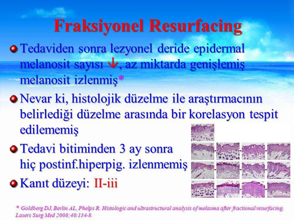 Tedaviden sonra lezyonel deride epidermal melanosit sayısı , az miktarda genişlemiş melanosit izlenmiş* Nevar ki, histolojik düzelme ile araştırmacının belirlediği düzelme arasında bir korelasyon tespit edilememiş Tedavi bitiminden 3 ay sonra hiç postinf.hiperpig.