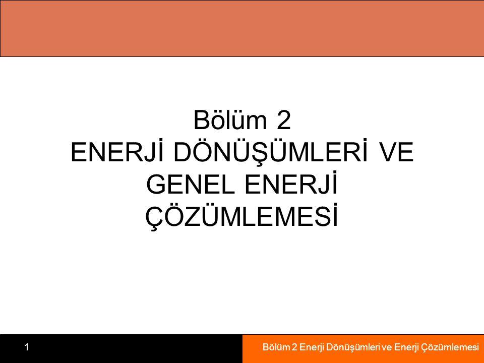 Bölüm 2 Enerji Dönüşümleri ve Enerji Çözümlemesi1 Bölüm 2 ENERJİ DÖNÜŞÜMLERİ VE GENEL ENERJİ ÇÖZÜMLEMESİ