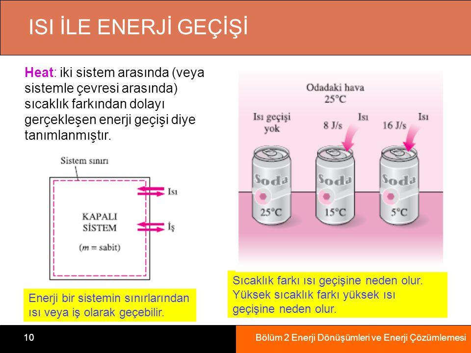 Bölüm 2 Enerji Dönüşümleri ve Enerji Çözümlemesi10 ISI İLE ENERJİ GEÇİŞİ Enerji bir sistemin sınırlarından ısı veya iş olarak geçebilir. Sıcaklık fark