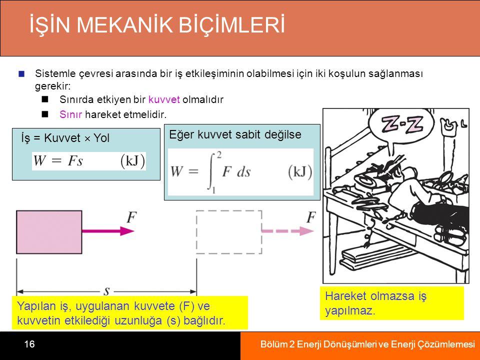 Bölüm 2 Enerji Dönüşümleri ve Enerji Çözümlemesi16 İŞİN MEKANİK BİÇİMLERİ Sistemle çevresi arasında bir iş etkileşiminin olabilmesi için iki koşulun s