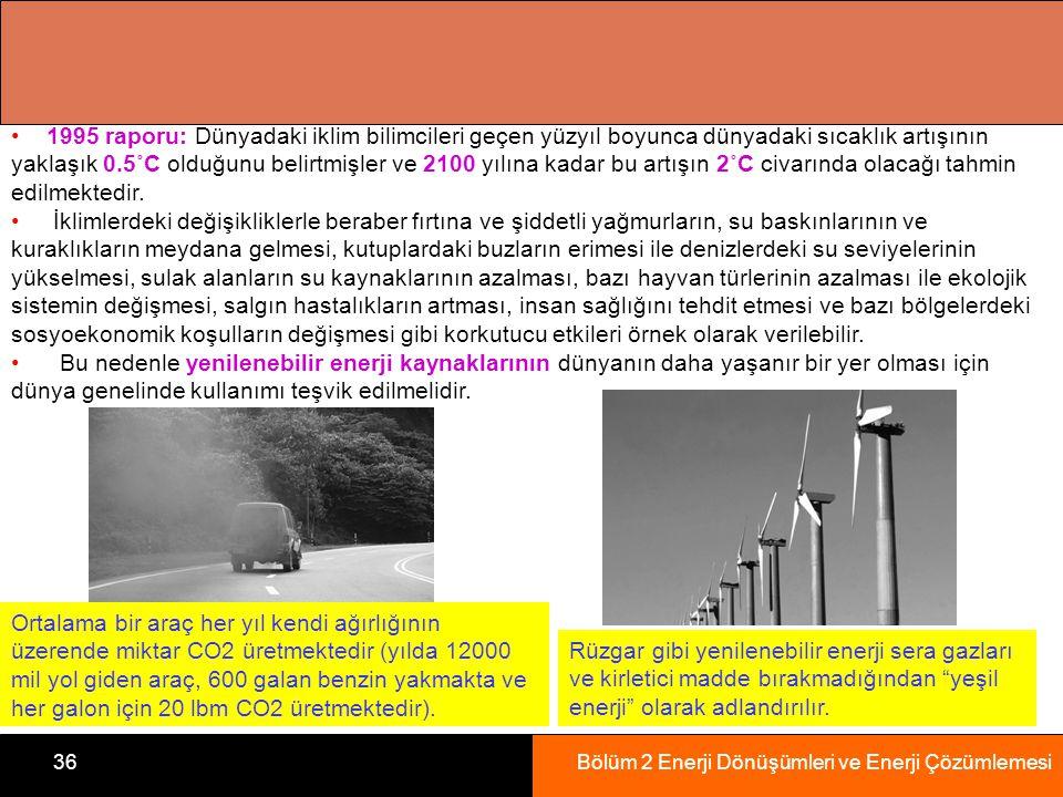 Bölüm 2 Enerji Dönüşümleri ve Enerji Çözümlemesi36 1995 raporu: Dünyadaki iklim bilimcileri geçen yüzyıl boyunca dünyadaki sıcaklık artışının yaklaşık 0.5˚C olduğunu belirtmişler ve 2100 yılına kadar bu artışın 2˚C civarında olacağı tahmin edilmektedir.