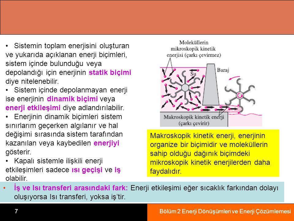 Bölüm 2 Enerji Dönüşümleri ve Enerji Çözümlemesi7 Makroskopik kinetik enerji, enerjinin organize bir biçimidir ve moleküllerin sahip olduğu dağınık biçimdeki mikroskopik kinetik enerjilerden daha faydalıdır.