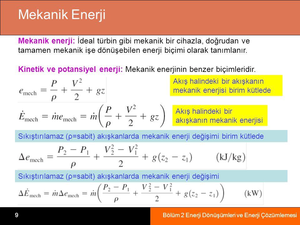 Bölüm 2 Enerji Dönüşümleri ve Enerji Çözümlemesi9 Mekanik Enerji Mekanik enerji: İdeal türbin gibi mekanik bir cihazla, doğrudan ve tamamen mekanik işe dönüşebilen enerji biçimi olarak tanımlanır.