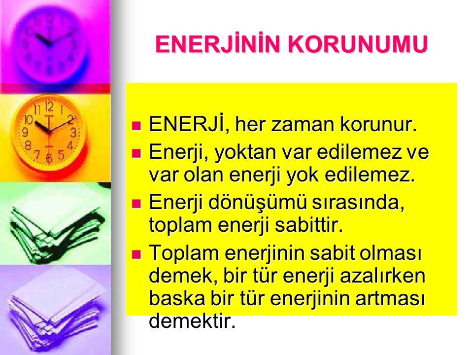 Kinetik enerji KİNETİK ENERJİ: Hareket halindeki cisimlerin hareketlerinden dolayı sahip oldukları enerjiye denir. KİNETİK ENERJİ: Hareket halindeki c