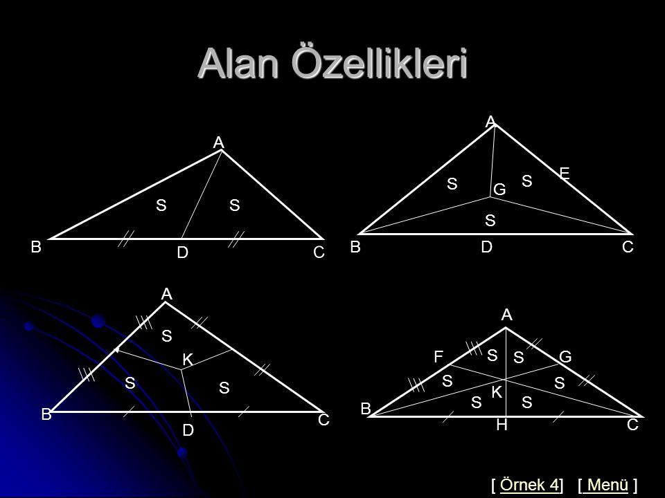 Çözüm 3 A B D C 6 x 4 4 4 ABC de  AD =x kenarortay olduğundan 2x 2 =b 2 +c 2 -a 2 /2 2x 2 =6 2 +4 2 -8 2 /2 X 2 =10 X=√10 Cevap : C [ Örnek 3] [Konuya Dön ] [ Menü ]Örnek 3Konuya Dön Menü