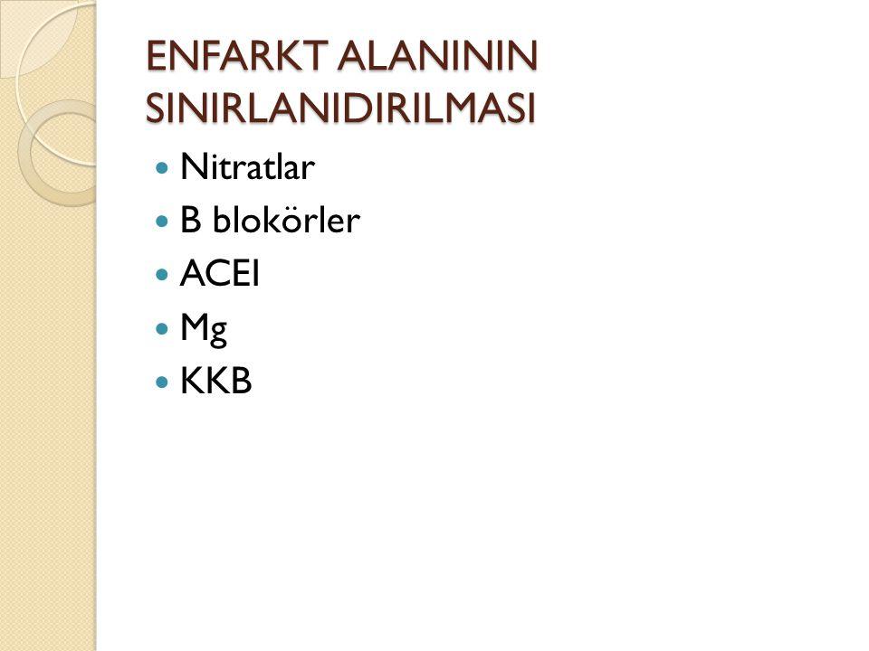 ENFARKT ALANININ SINIRLANIDIRILMASI Nitratlar B blokörler ACEI Mg KKB