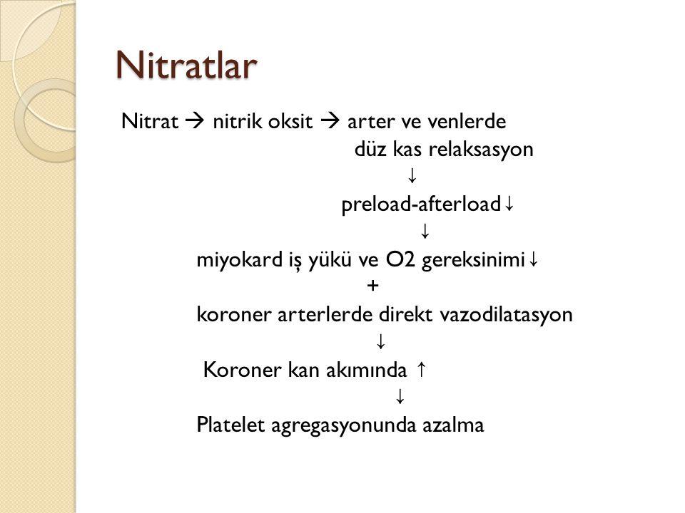 Nitratlar Nitrat  nitrik oksit  arter ve venlerde düz kas relaksasyon ↓ preload-afterload ↓ ↓ miyokard iş yükü ve O2 gereksinimi ↓ + koroner arterle