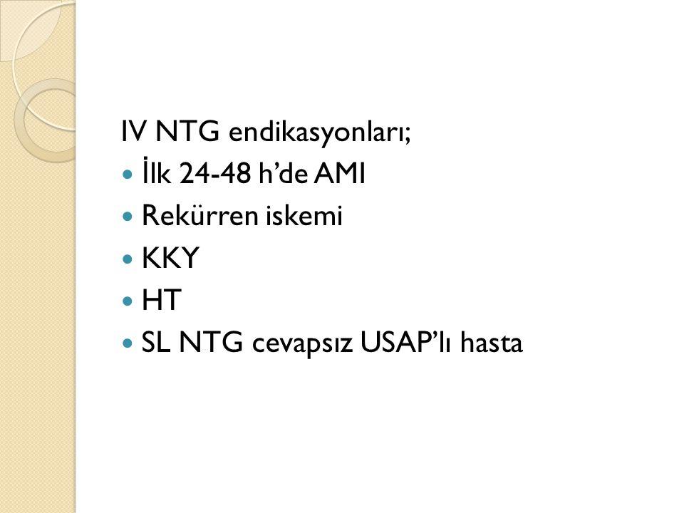IV NTG endikasyonları; İ lk 24-48 h'de AMI Rekürren iskemi KKY HT SL NTG cevapsız USAP'lı hasta