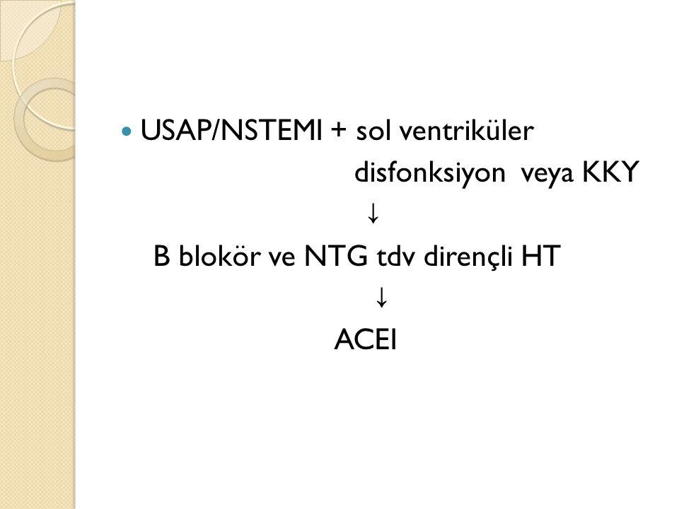USAP/NSTEMI + sol ventriküler disfonksiyon veya KKY ↓ B blokör ve NTG tdv dirençli HT ↓ ACEI
