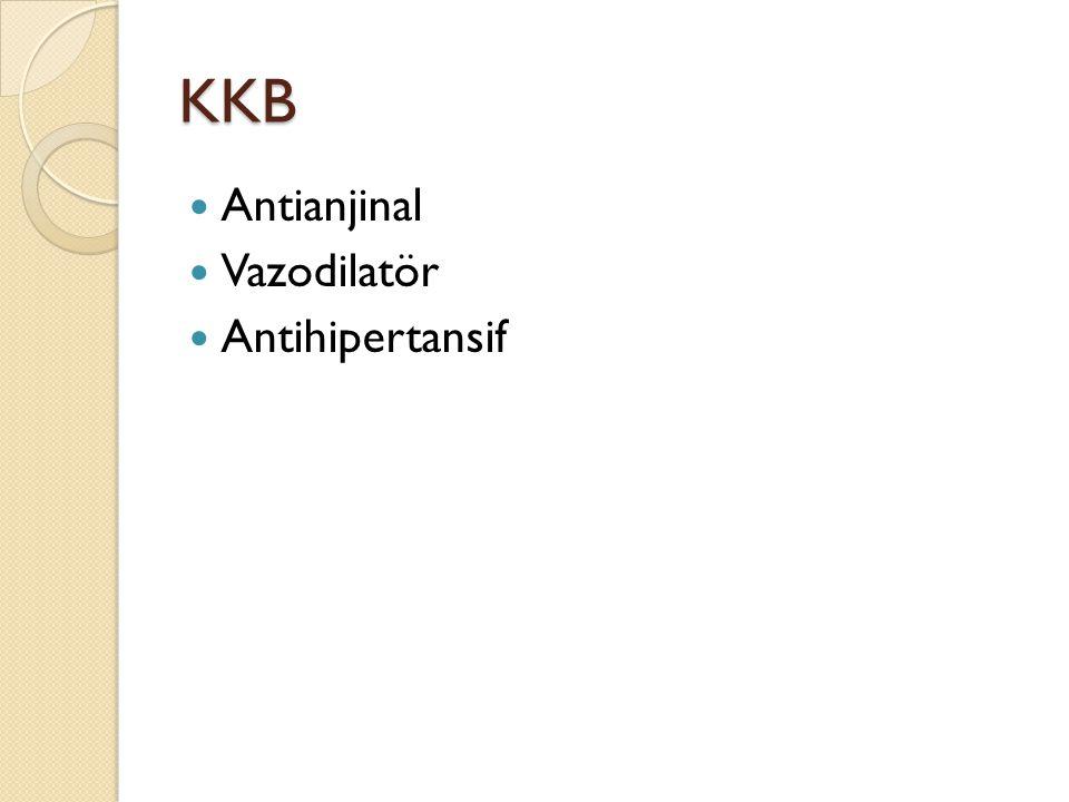 KKB Antianjinal Vazodilatör Antihipertansif