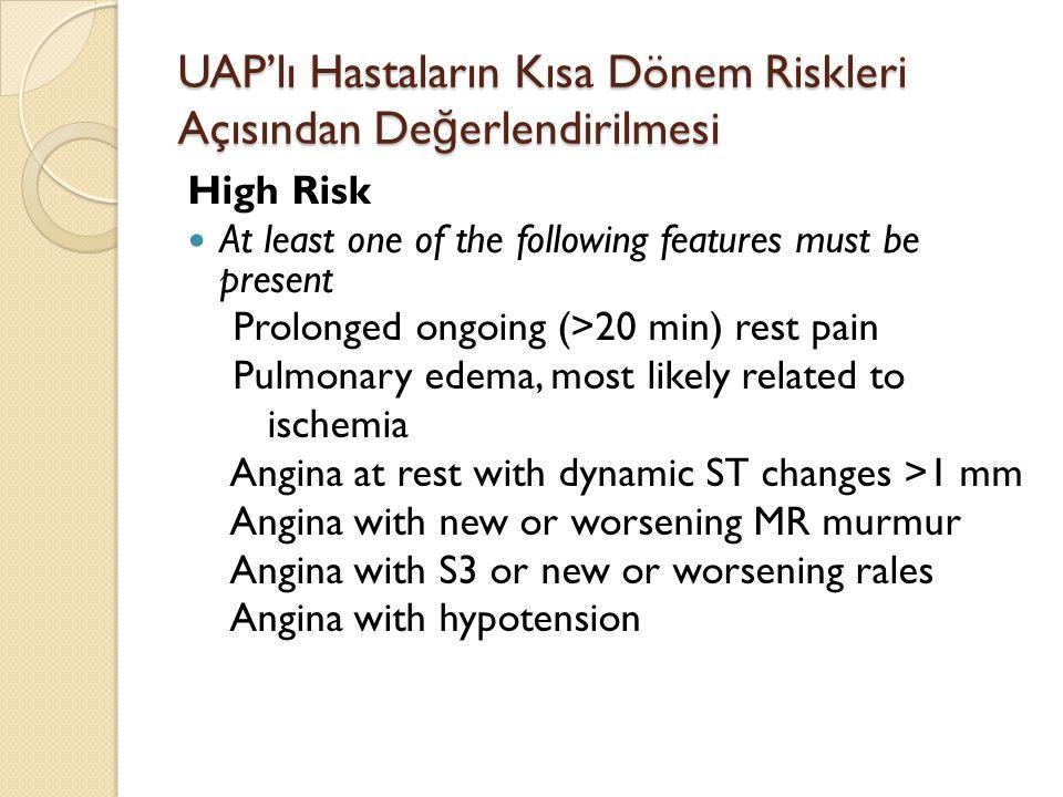 UAP'lı Hastaların Kısa Dönem Riskleri Açısından De ğ erlendirilmesi High Risk At least one of the following features must be present Prolonged ongoing